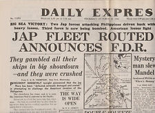 WW2 Wartime Newspaper Daily Express October 26 1944  Japanese Fleet Routed