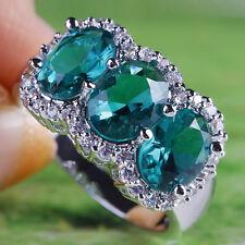Chic Women Banquet Jewelry Oval Cut Green Topaz Gemstone Silver Wedding Ring