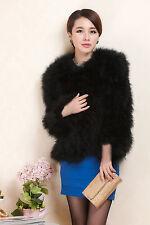 Real Farm Ostrich Feather Fur Short Coat Jacket Mutilcolor Sales Champion Women