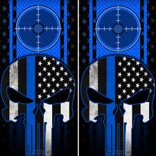 Cornhole Board 2 Wraps Skull American Flag Thin Blue Line Diamond Plate Pattern