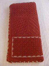 Needlepoint Eye Glasses Case Hand Crafted Brown Canvas Rust Threads 7 1/2x3 1/2