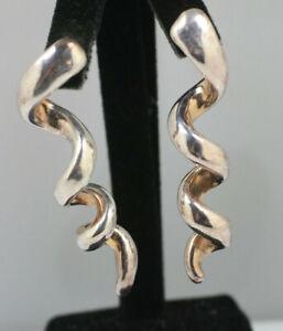Vintage israel electroform dangle spiral twists corkscrew post pierced earrings