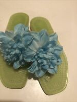 KATE SPADE blueFlower &. Green Rubber Sole Thong Flats Sandal Shoes  Sz 6