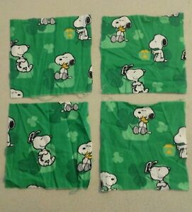 5 X 5 fabric quilt squares Snoopy Woodstock Clover 263215