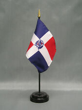 "Dominican Republic Mini 4""x6"" Desk Stick Flag, With Black Plastic Stand"