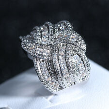 Gorgeous 925 Silver White Sapphire Infinite Ring Criss Cross Wedding Band Gifts