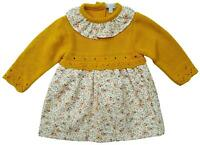 Baby Girls Spanish Mustard Ditsy Dress Knit Jumper Outfit Newborn to 9 Months