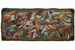 LATE 19TH C AMERICAN ANTIQUE HND-WVN GEO-ABSTRCT RECT MULTI-CLRD WOOL HOOKED RUG