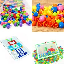 Children Kids Puzzle Peg Board With 296 Pegs Educational Toys Creative Gifts