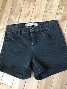 Denim Co Primark High Waisted Black Denim Shorts Size 8 /36