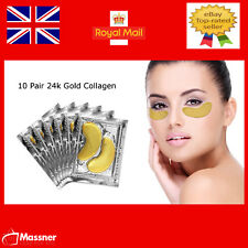 10 Pair 24k Gold Collagen Crystal Under Eye Gel Pad Face Mask Anti Aging Wrinkle
