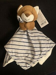 Just One You Carter's Gray Stripe Brown FOX Baby Security Blanket Lovie Lovey
