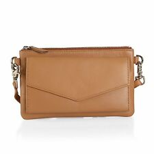 Tan Leather RFID Envelope Pouch Crossbody Bag