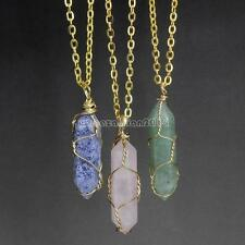 Natural Healing Crystal Quartz Gemstone Pendant Necklace Gold Plated Chain Gift