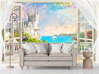 3D Window Balcony Castle Self-adhesive Living Room Wallpaper Wall Murals Decor