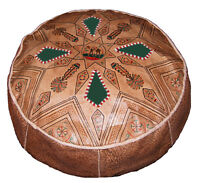 Pouf Moroccan Hassock Pooff Leather Genuine Ottoman Footstool X-Large Natural