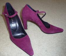Zapatos Stiletto Gamuza Cuero Verdadero Tacón-Magenta por Farrutx Size UK 5 bnwo £ 160