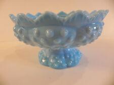 Fenton Blue Marble Hobnail Candle Holder White Swirl Glass Centerpiece Bowl Vase