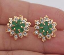 18K Gold Filled -Multilayer Flower Earrings Emerald Snowflake Ear Stud Jewelry