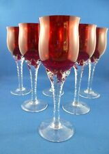Vintage 6 x RED GLASS & CLEAR STEMMED  Sherry / Liquer GLASSES 16 cms  x 5 cms