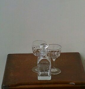 Vintage Small Decanter & Two Crystal Wine Glasses.