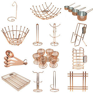 Copper Kitchen Cooking Baking Spoon Tools Rose Gold Racks Mugs Holder Bowl Stand