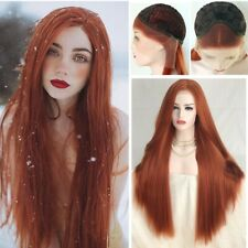 Orange Long Lace Front  Synthetic Handtied Hair Natural Straight Copper Red Wig