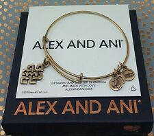 Alex and Ani Rafaelian Gold Endless Knot Charm Bangle Bracelet