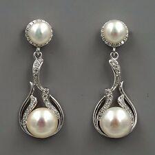 White Pearl Freshwater CZ 925 Sterling Silver Drop Dangle Earrings 03662 New