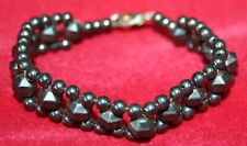 "VERY ATTRACTIVE Black Onyx Bead BRACELET 17.5cm Lobster Clasp 1/2"" wide"