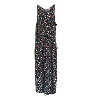 Eyeshadow floral print knotted front jumpsuit sleeveless black keyhole sz M