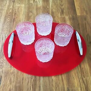 """Oval Serving Tray / Chrome Handles, Red Gloss Finish, 40x30cm 12"""" x 16"""""""