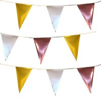 Metallic Bunting Rose Gold Silver Gold Banner Garland Birthday Decoration