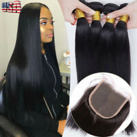 8A 4 Bundles With Closure Peruvian Virgin Human Hair Pre Plucked Straight Thick+