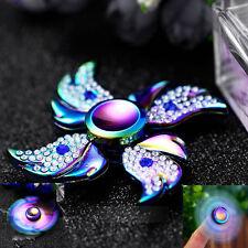 Deluxe Diamond Rainbow Aluminum Tri Hand Finger Spinner Fidget EDC Desk Toy Gyro