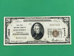 1929 The First National Bank of Kingsport Tennessee $20 Twenty Dollars Note Bill