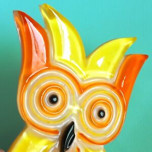 OWL 1970s Mod Decor Lucite Resin Acrylic Orange Yellow Wall Hanging Decor EUC