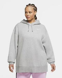 Nike Fleece Pullover Hoodie Womens Sweatshirt Sportswear Full Sleeves Grey