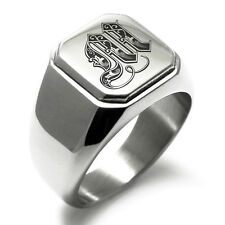 Stainless Steel Monogram Royal Initial M Mens Square Biker Style Signet Ring