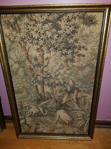 "Large Vintage Antique Tapestry Nature Scene Wildlife Birds Flamingos 38""x25"""