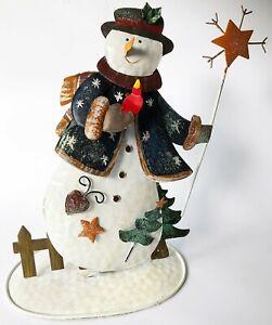 Rustic Metal SNOWMAN Christmas Ornament Decoration