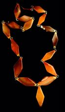 VICTORIAN NECKLACE SCOTTISH BANDED AGATE STONES HEAD-THROUGH GEOMETRICAL DESIGN