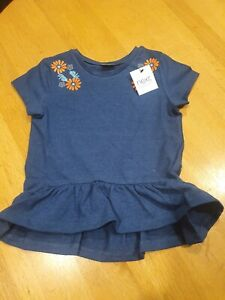 BNWT Next blue flower t shirt age 3-4 years