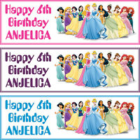 2 x personalized birthday banner party DISNEY princess boys girls any name ages