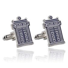 New Doctor Who Tardis Police Box Retro Logo Symbol Cufflinks Suit Gift Bag
