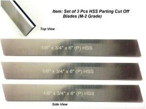 "Set of 3 HSS Blades 1/8""x 3/4"" x 6"" Lathe Parting Cut Off Tool Machine Tool"