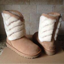 UGG Tania Chestnut Suede Sheepskin Cuff Short Winter Boots Size US 7 Womens NEW