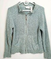 Liz Claiborne Speckled Green Zip Front Cardigan Sweater Size Large