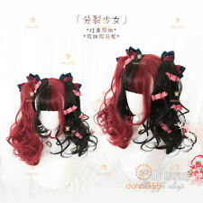 Black+Red Gradient  Sweet Harajuku Lolita Daily BOBO Long Curly Hair Wig #H2