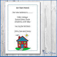 10x  PERSONALISED CHANGE ADDRESS/ NEW HOUSE WE HAVE MOVED/ CARDS WITH ENVELOPES